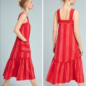 Anthropologie Maeve Tonal Red Striped Midi Dress